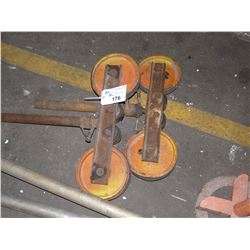2 HEAVY DUTY ROLLER STANDS, NO BASES