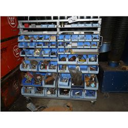 MOBILE PARTS BIN WITH ASSORTED CONTENTS