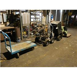 LOT OF ASSORTED BOTTLE CARTS AND MORE