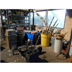 LOT OF ASSORTED JANITORIAL EQUIPMENT, CARTS AND MORE