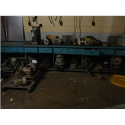 CONTENTS OF WORK BENCH AND AREA INC. MOTORS, PARTS AND MORE
