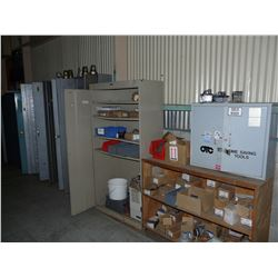 LOCKERS AND CABINETS ON WALL WITH CONTENTS INC. COUPLINGS, ELECTRICAL PARTS, HARDWARE AND MORE