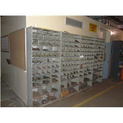 4 SECTIONS OF PARTS BINS WITH ASSORTED HARDWARE CONTENTS