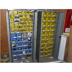 2 METAL CABINETS WITH CONTENTS INC. NUTS, BOLTS COUPLERS AND MORE