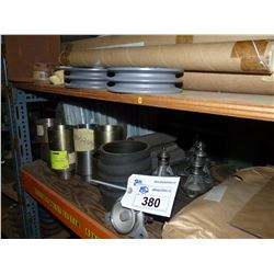 CONTENTS OF TOP SHELF INC. ELECTRICAL INSULATORS, PULLEYS, BRONZE AND STEEL HARDWARE AND MORE