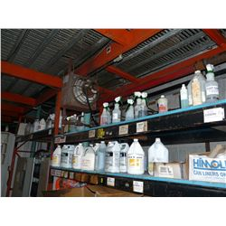 3 SHELVES INC. ASSORTED FLUIDS, SOLVENTS, CLEANERS AND MORE