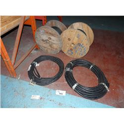 LOT OF 4 SPOOLS OF HEAVY DUTY CABLING