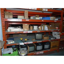 CONTENTS OF BAY OF RACKING TVS AND OTHER ELECTRONICS