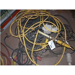 LOT OF ASSORTED ELECTRICAL CABLE WITH PLUGS AND MORE