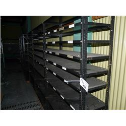 ROW OF METAL PARTS ROOM SHELVING