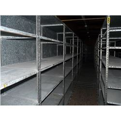 DOUBLE ROW OF METAL PARTS ROOM SHELVING