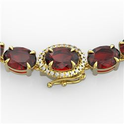 80 CTW Garnet & VS/SI Diamond Eternity Tennis Micro Halo Necklace 14K Yellow Gold - REF-236H4A - 234