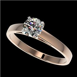 0.78 CTW Certified H-SI/I Quality Diamond Solitaire Engagement Ring 10K Rose Gold - REF-97Y5K - 3648
