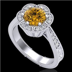 1.33 CTW Intense Fancy Yellow Diamond Engagement Art Deco Ring 18K White Gold - REF-227W3F - 37959