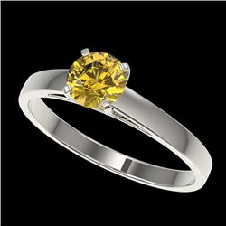 0.74 CTW Certified Intense Yellow SI Diamond Solitaire Engagement Ring 10K White Gold - REF-92K5W -