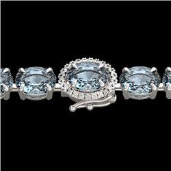 36 CTW Sky Blue Topaz & VS/SI Diamond Tennis Micro Halo Bracelet 14K White Gold - REF-115W8F - 23443