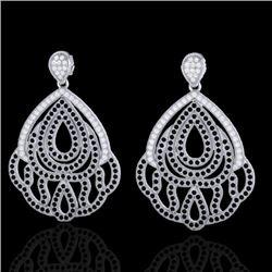 3 CTW Micro Pave Black & VS/SI Diamond Earrings Designer 18K White Gold - REF-307A5X - 21145
