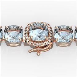 35 CTW Aquamarine & Micro Pave VS/SI Diamond Halo Bracelet 14K Rose Gold - REF-304X8T - 23300