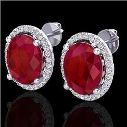 6 CTW Ruby & Micro Pave VS/SI Diamond Earrings Halo 18K White Gold - REF-101M6H - 21062