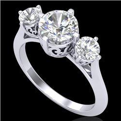 1.51 CTW VS/SI Diamond Solitaire Art Deco 3 Stone Ring 18K White Gold - REF-427W3F - 37235