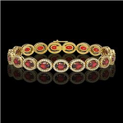 14.63 CTW Garnet & Diamond Halo Bracelet 10K Yellow Gold - REF-228W2F - 40498