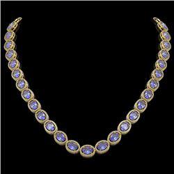 48.65 CTW Tanzanite & Diamond Halo Necklace 10K Yellow Gold - REF-797N3Y - 40564