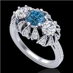 2.26 CTW Intense Blue Diamond Art Deco Micro Pave 3 Stone Ring 18K White Gold - REF-254Y5K - 37747