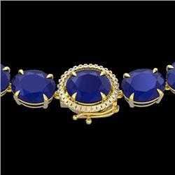 170 CTW Sapphire & VS/SI Diamond Halo Micro Solitaire Necklace 14K Yellow Gold - REF-685K3W - 22315