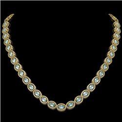 33.25 CTW Sky Topaz & Diamond Halo Necklace 10K Yellow Gold - REF-501K5W - 40432