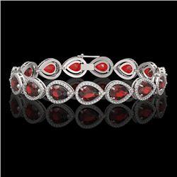 17.45 CTW Garnet & Diamond Halo Bracelet 10K White Gold - REF-283X5T - 41279
