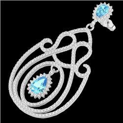 6.40 CTW Topaz & Micro Pave VS/SI Diamond Designer Earrings 14K White Gold - REF-303N5Y - 22431