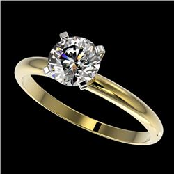 1.01 CTW Certified H-SI/I Quality Diamond Solitaire Engagement Ring 10K Yellow Gold - REF-216Y4K - 3