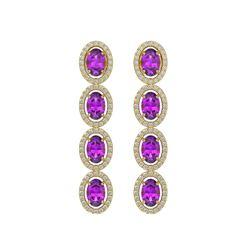 5.56 CTW Amethyst & Diamond Halo Earrings 10K Yellow Gold - REF-103W3F - 40543