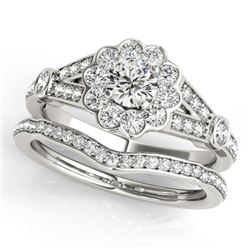 1.84 CTW Certified VS/SI Diamond 2Pc Wedding Set Solitaire Halo 14K White Gold - REF-412F2N - 31160