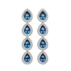 7.81 CTW London Topaz & Diamond Halo Earrings 10K White Gold - REF-139M5H - 41174