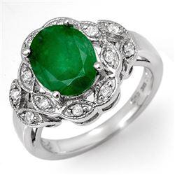 2.75 CTW Emerald & Diamond Ring 18K White Gold - REF-66F2N - 11907