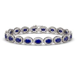 15.2 CTW Sapphire & Diamond Halo Bracelet 10K White Gold - REF-244N2Y - 40457