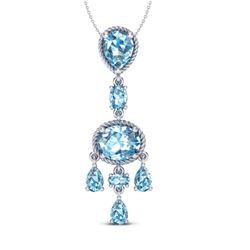 8 CTW Sky Blue Topaz Necklace Designer Vintage 10K White Gold - REF-34M4H - 20396