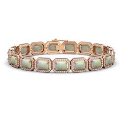 16.86 CTW Opal & Diamond Halo Bracelet 10K Rose Gold - REF-334F8N - 41394