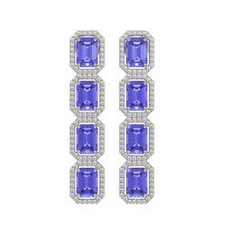 11.93 CTW Tanzanite & Diamond Halo Earrings 10K White Gold - REF-290N2Y - 41435