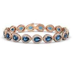 16.59 CTW London Topaz & Diamond Halo Bracelet 10K Rose Gold - REF-281M6H - 41127