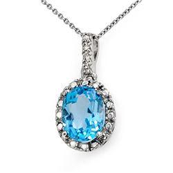 2.05 CTW Blue Topaz & Diamond Pendant 10K White Gold - REF-12N8Y - 14011