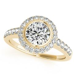 1.5 CTW Certified VS/SI Diamond Solitaire Halo Ring 18K Yellow Gold - REF-401X6T - 27023