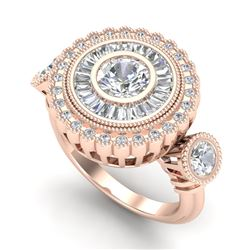 2.62 CTW VS/SI Diamond Solitaire Art Deco 3 Stone Ring 18K Rose Gold - REF-416Y4K - 37089
