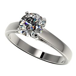 1.55 CTW Certified H-SI/I Quality Diamond Solitaire Engagement Ring 10K White Gold - REF-339W2F - 36