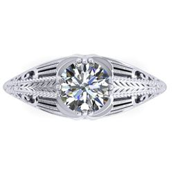 1 CTW Solitaire Certified VS/SI Diamond Ring 14K White Gold - REF-279X2T - 38532