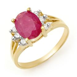 2.48 CTW Ruby & Diamond Ring 14K Yellow Gold - REF-45X5T - 13720