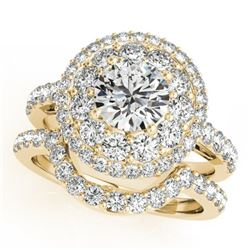 2.55 CTW Certified VS/SI Diamond 2Pc Wedding Set Solitaire Halo 14K Yellow Gold - REF-455X6T - 30938
