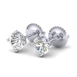 1.01 CTW VS/SI Diamond Solitaire Art Deco Stud Earrings 18K White Gold - REF-180Y2K - 37298