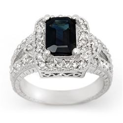 3.0 CTW Blue Sapphire & Diamond Ring 18K White Gold - REF-102X2T - 14389